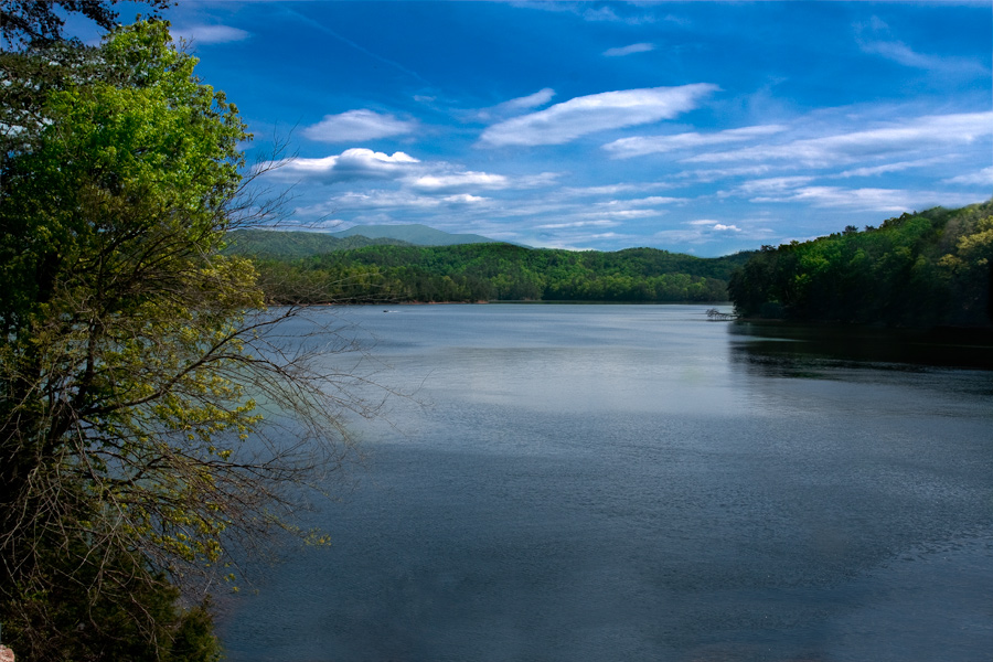 This is a Brian Charles Steel photograph of a lake in Cleveland Tennessee.  The lake composes the lower right portion of the frame.  The upper half of the frame is filled with bright blue sky and white clouds.  Stretching across the middle of the frame are green trees.