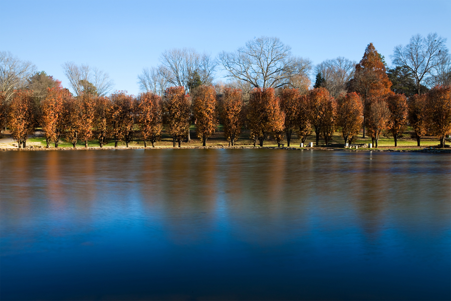 This Brian Charles Steel photo depicts a landscape of a lake in Cleveland, Tennessee during the fall.  The water of the lake is completely smooth.  The bottom third of the frame is filled with dark blue water.  The water is blue because of the reflection of the sky.  The middle portion of the frame is filled with smooth water that has a mixture of colors including: orange, brown, and blue.  The colors come from reflections of the land, trees, and sky.  The trees line the lake, and are filled with orange leaves.  Shadows from the trees stretch across the land.  Behind the trees is a mixture of dirt, green grass, and leaves.  Above the trees is the blue sky.